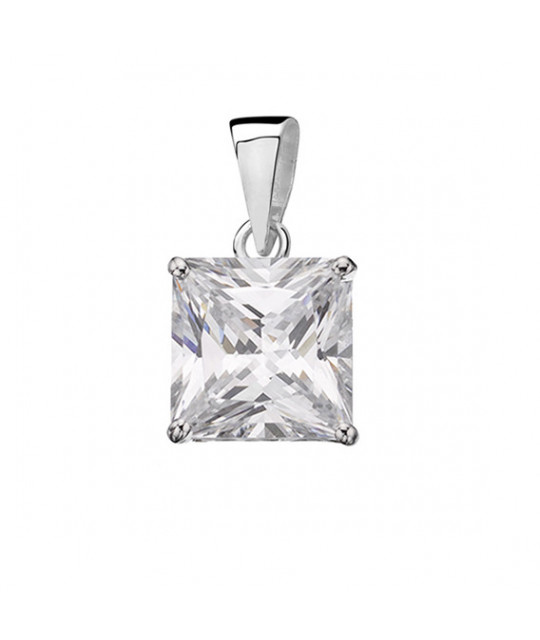Silver pendant with white zirconia, 6mm x 6mm