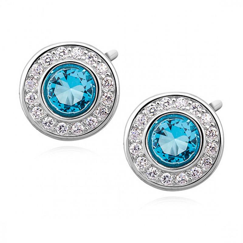 Silver elegant round earrings with aquamarine zirconia