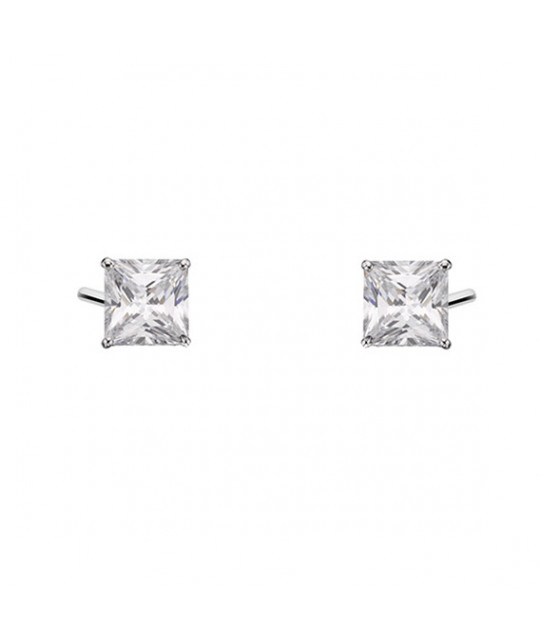 Silver earrings with white zirconia, 4 x 4mm