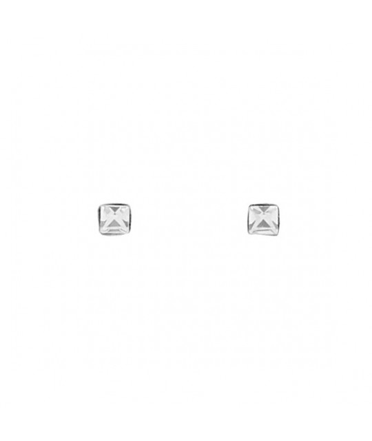 Silver rectangular nose stud earrings with zirconia in a box, 2 pcs.
