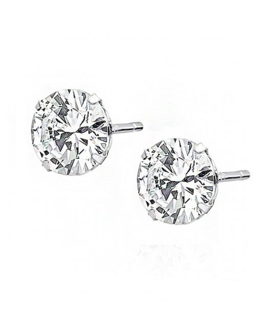Silver earrings round with white zirconia, 7 mm