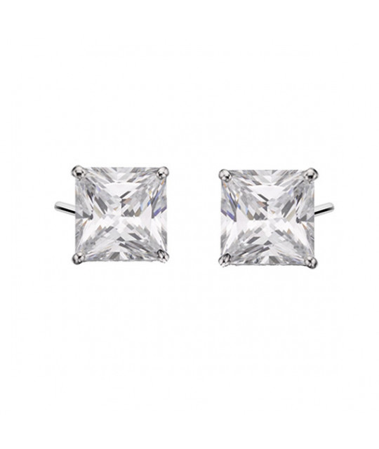 Silver earrings white zirconia, 7x7mm