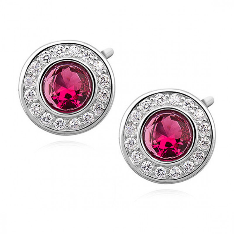 Silver round earrings with ruby zirconia
