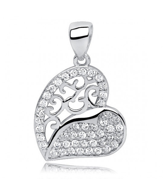 Silver pendant with white zirconia, Heart openwork, 23 mm