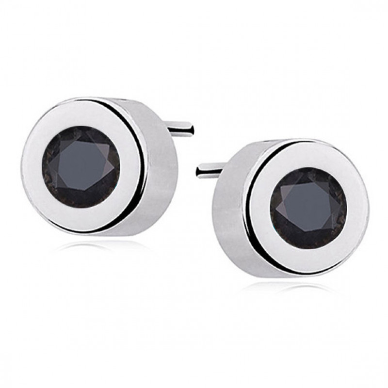 Silver round earrings with black zirconia