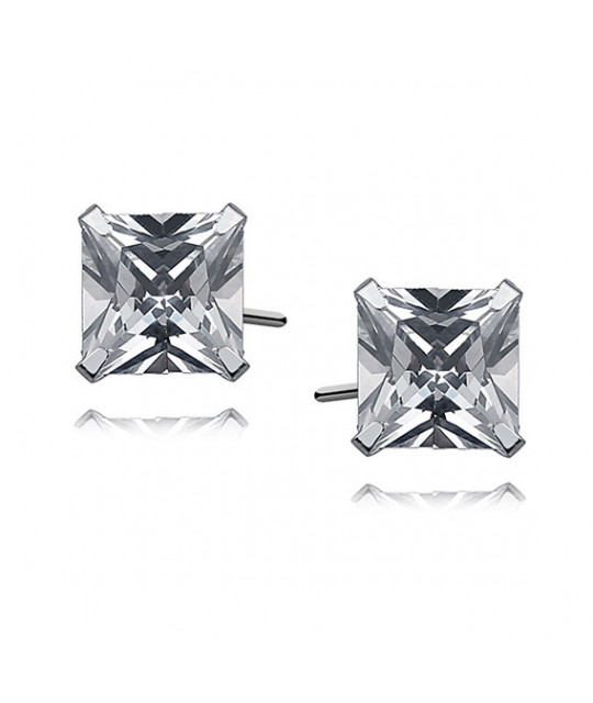 Silver earrings with white zirconia, 7 x 7mm Square
