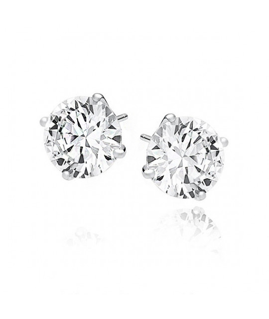 Silver earrings round white zirconia,10mm