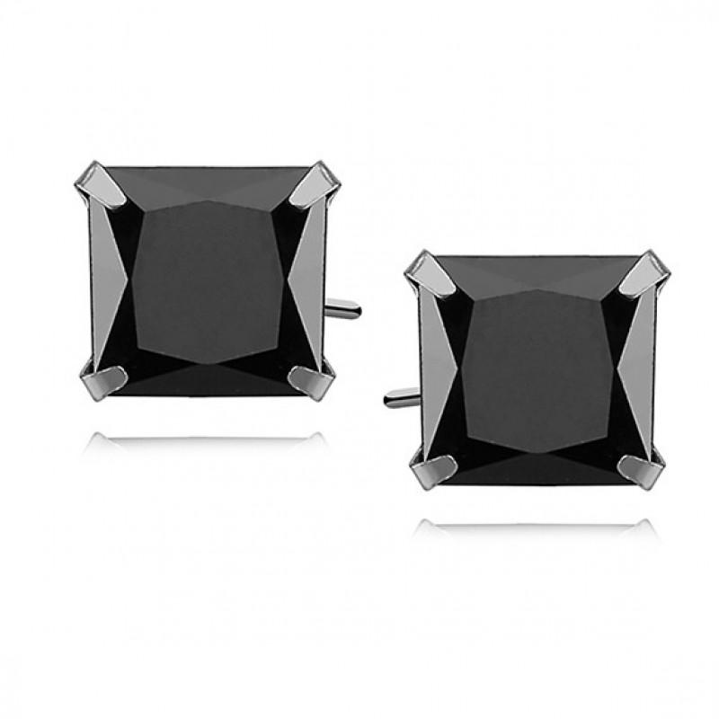Silver earrings black zirconia, 8 x 8mm Square