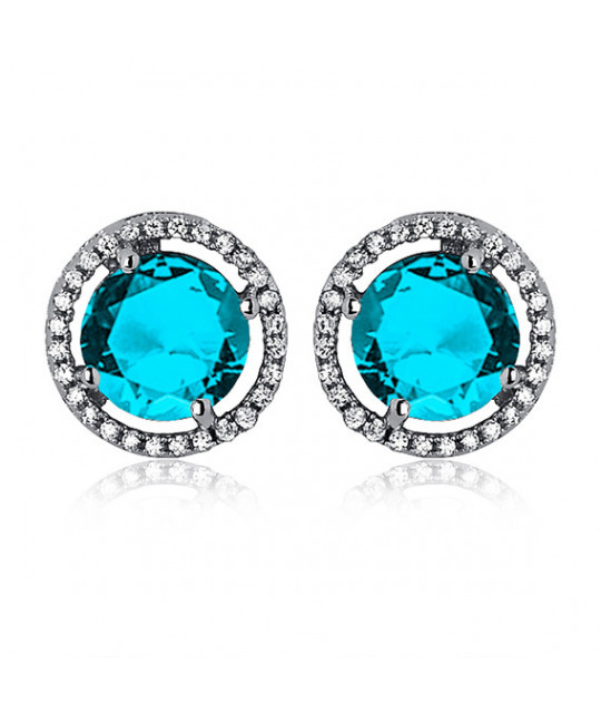 Silver earrings with zirconia, round Aquamarine