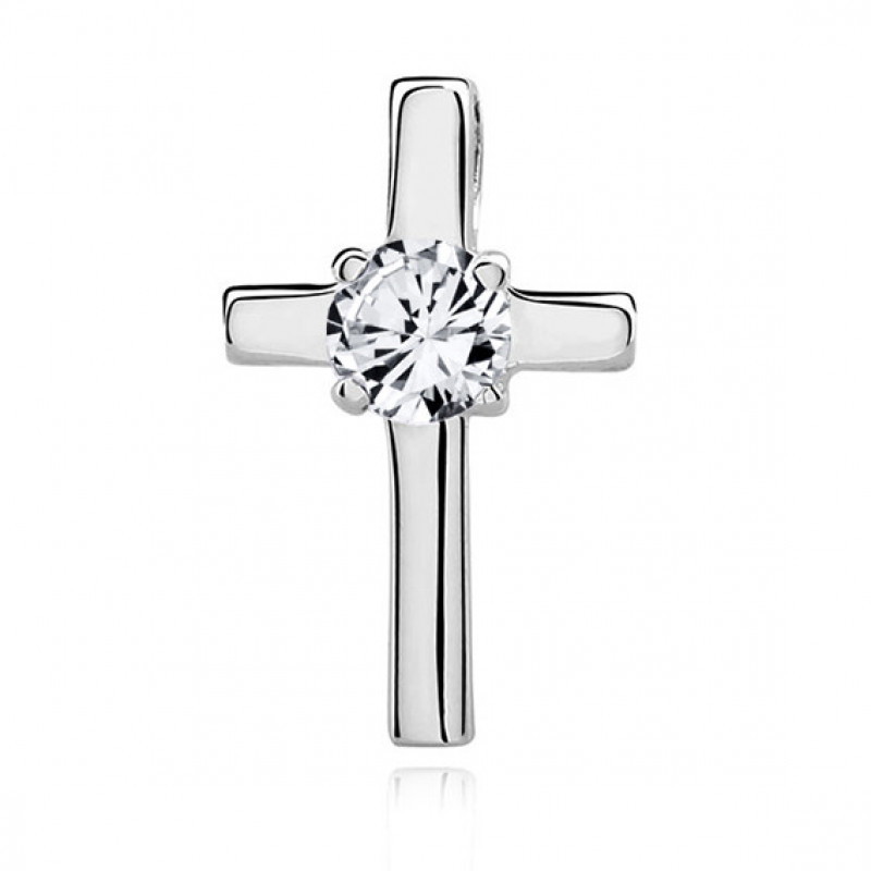 Silver pendant Cross with zirconia, 17 mm