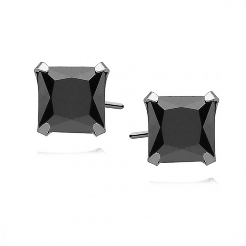 Silver earrings with black zirconia, Square 7 x 7mm