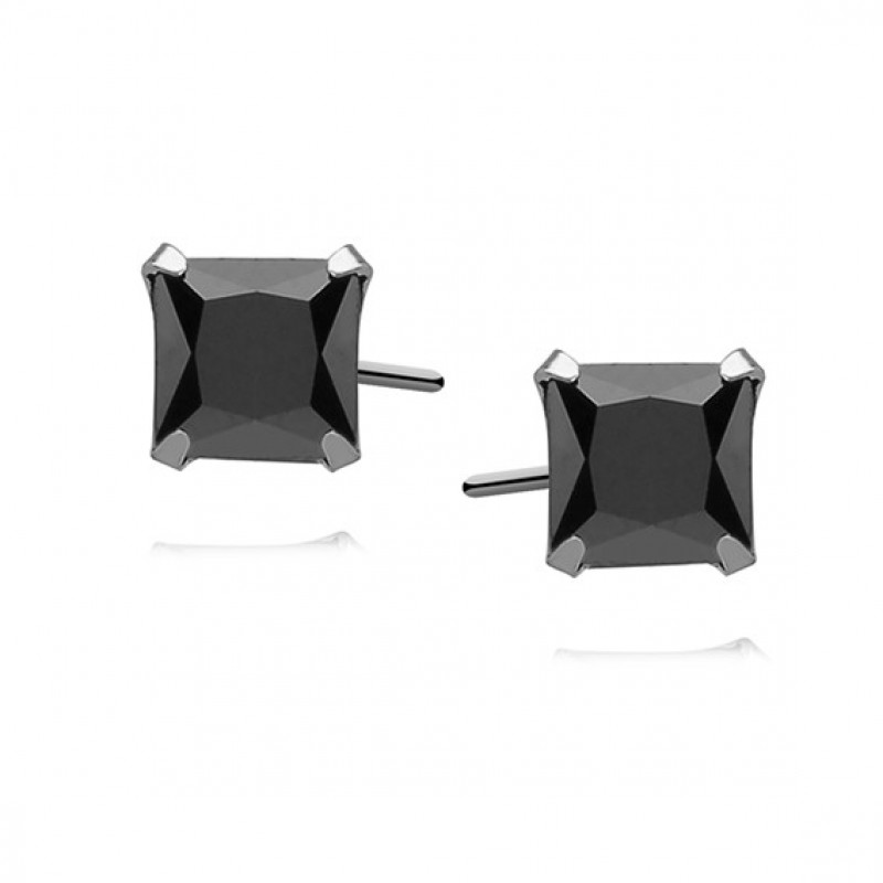 Silver earrings with black zirconia, Square 6 x 6mm