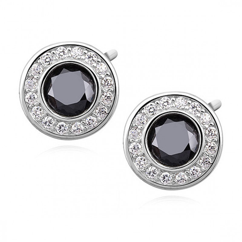 Silver elegant round earrings with black zirconia