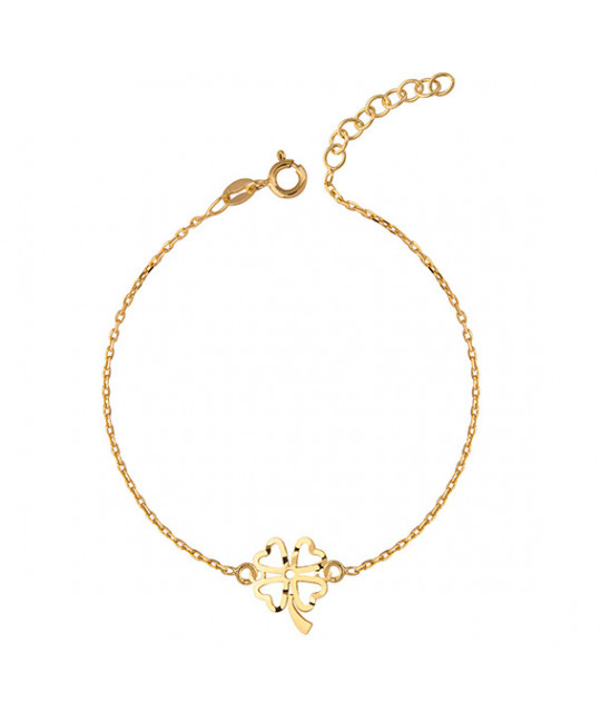 Gold-plated silver bracelet with open-work clover pendant