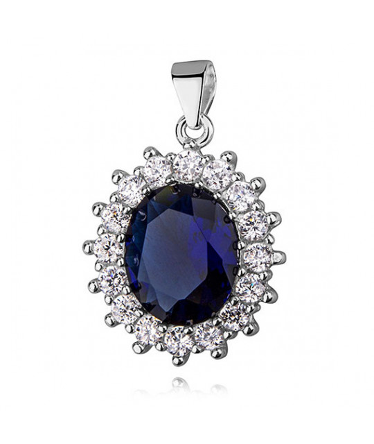 Silver pendant with colored zirconia, Sapphire, 27 mm