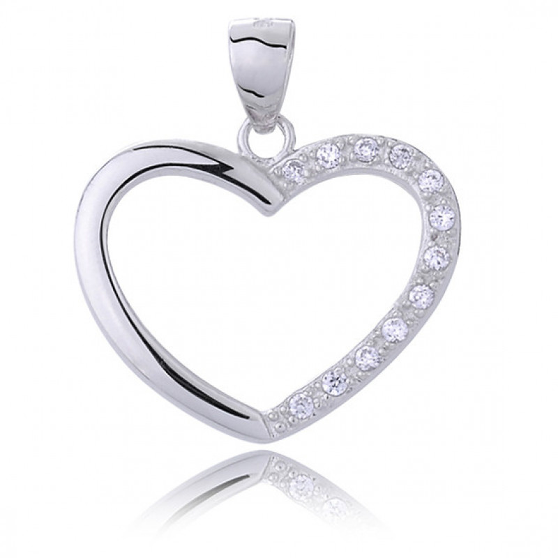 Silver pendant with white zirconia, Heart