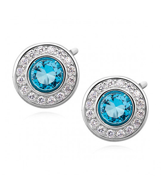 Silver elegant round earrings with aquamarine zirconia