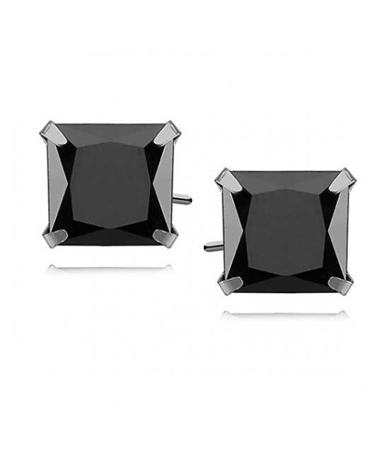 Silver earrings black zirconia, 8 x 8mm Square