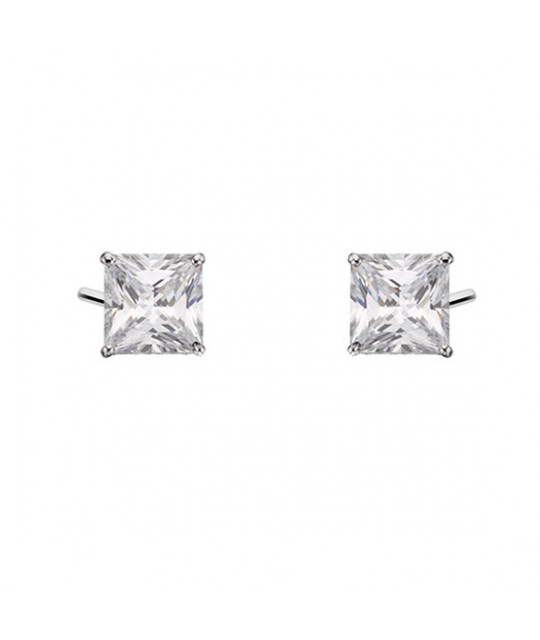 Silver earrings with white zirconia, 5 x 5mm