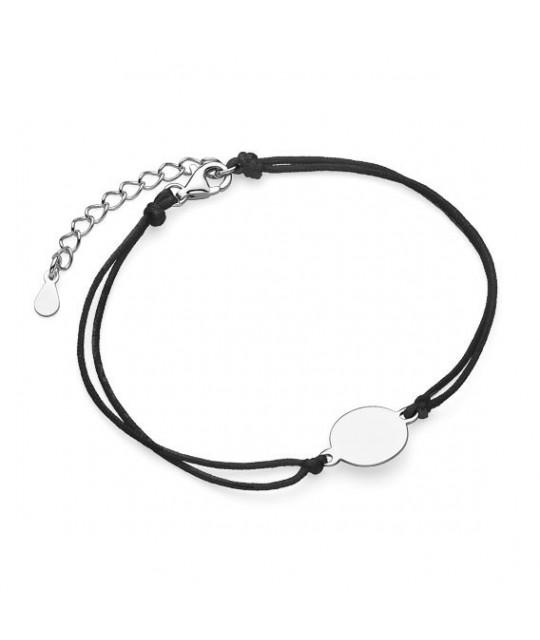 Hõbe käevõru musta nööriga, Ring, 10 mm