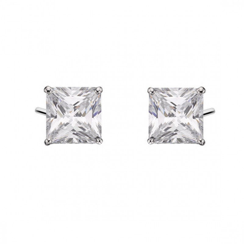 Silver earrings with white zirconia, 6 x 6 mm