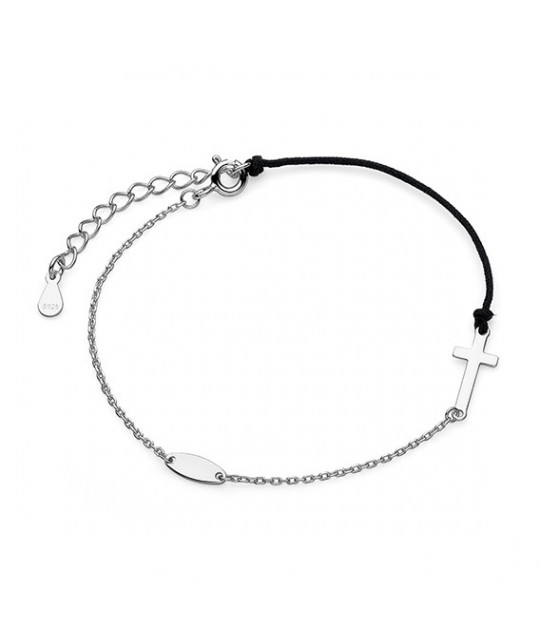 Silver bracelet with black cord, Cross
