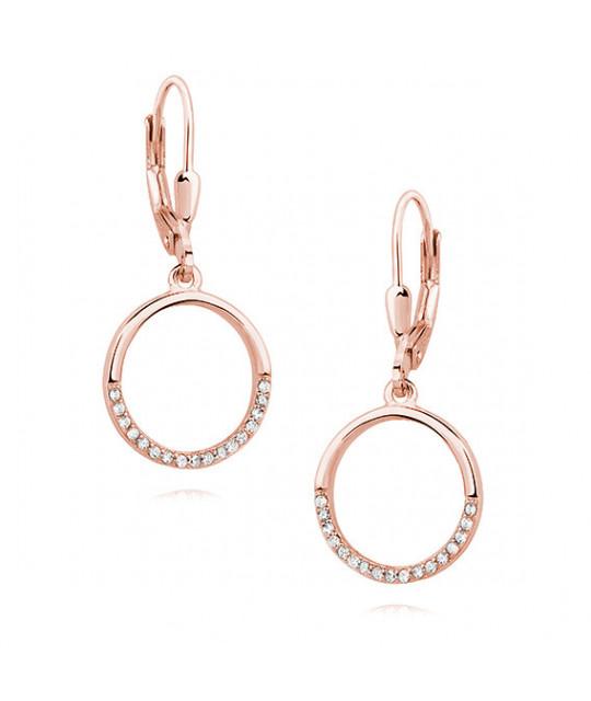 Rožiniai paauksuoti sidabriniai auskarai, Apskritimas su baltu cirkonio
