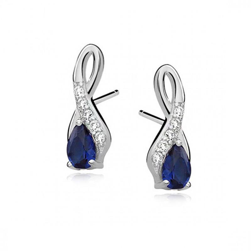 Silver earrings, Sapphire