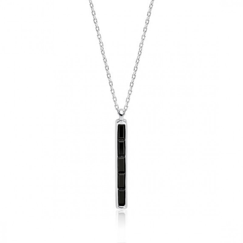 Silver rectangle necklace with black zirconia