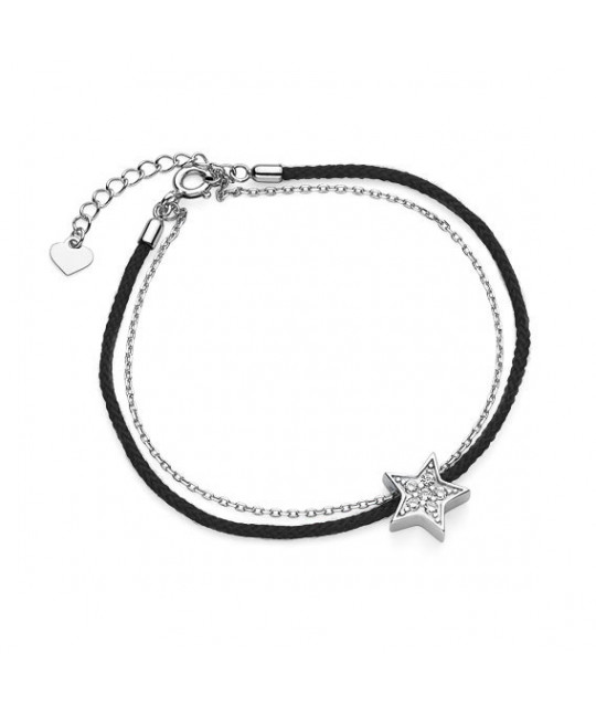 Silver bracelet with black cord, Star with zirconia