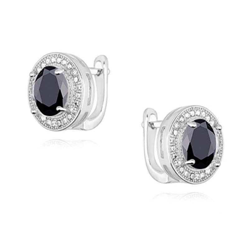 Silver earrings with round black zirconia