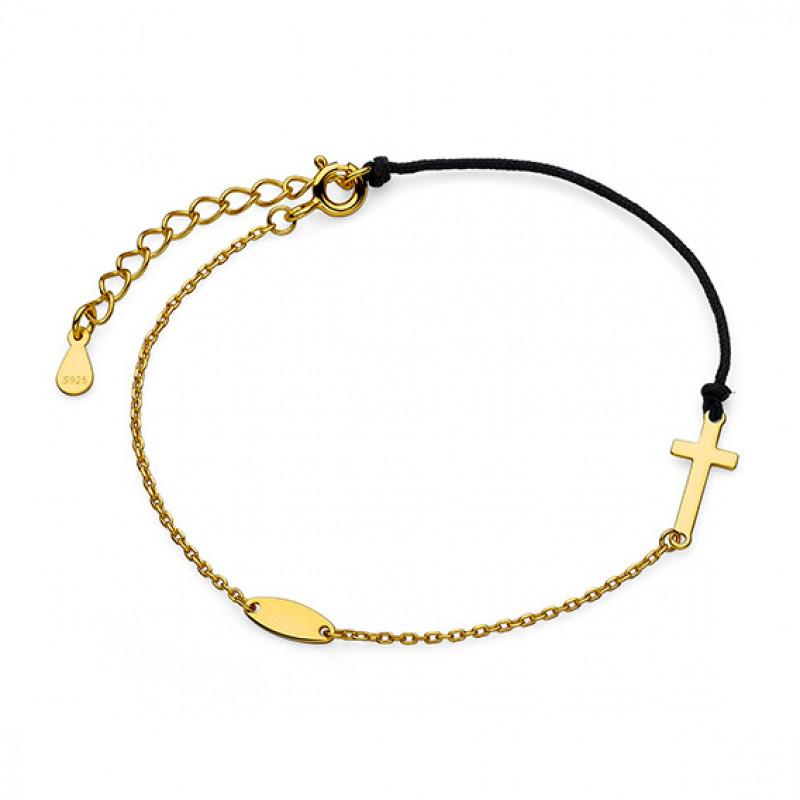 Silver bracelet, Gold-plated cross