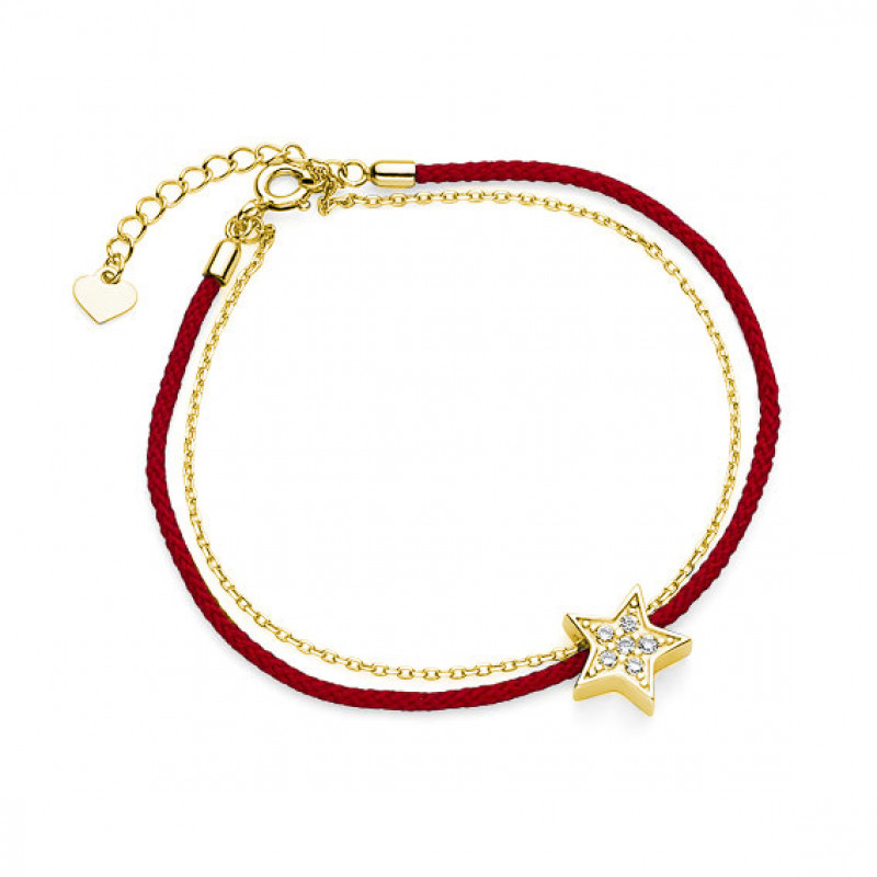 Silver bracelet, Gold-plated star with zirconia