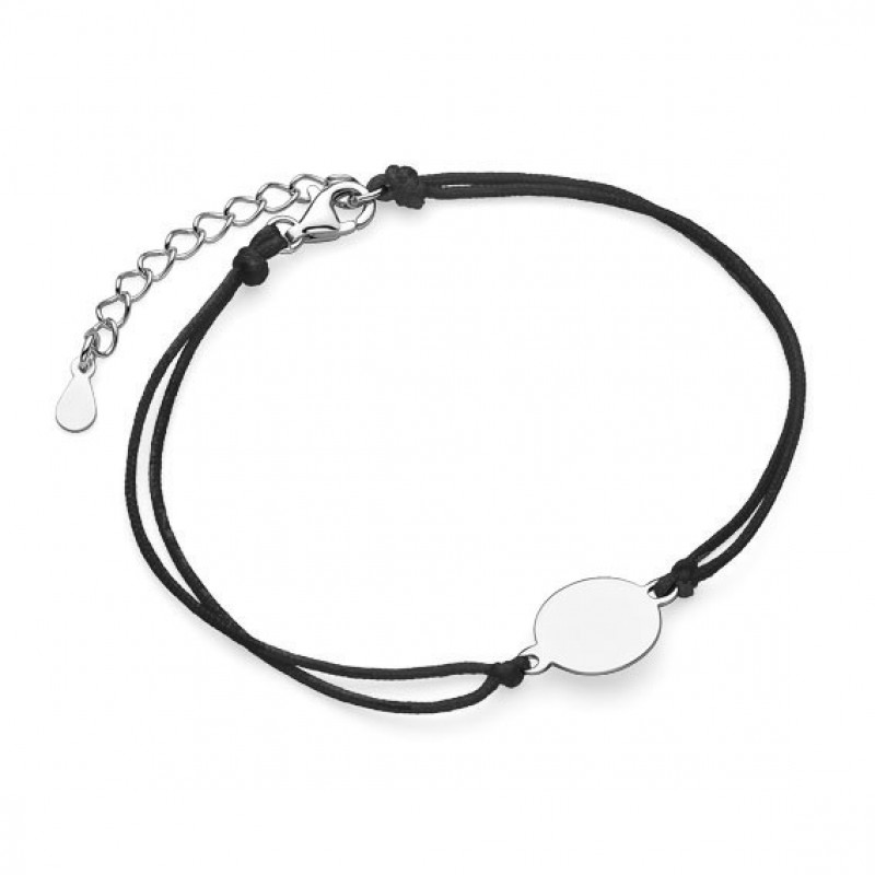 Silver bracelet with black cord, Circle, 10 mm
