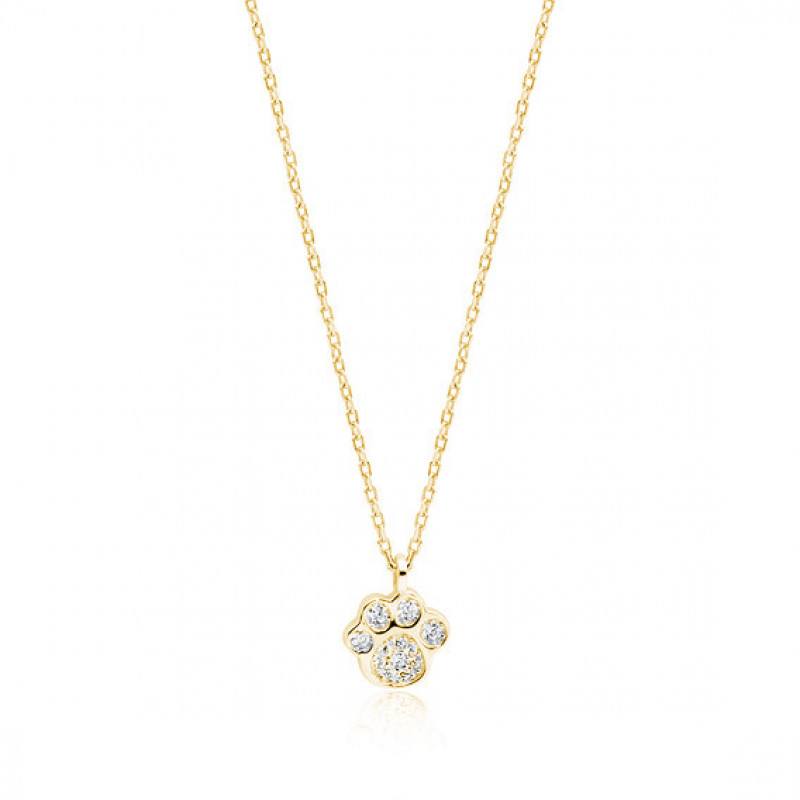 Gold-plated silver necklace,  Dog/cat paw