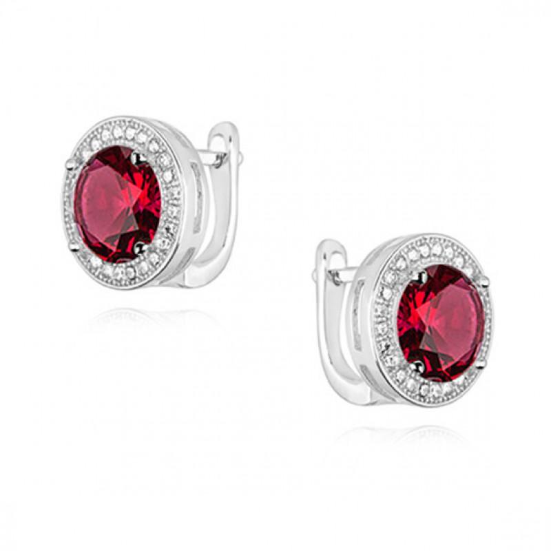 Серебряные серьги с круглым рубиновым цирконием