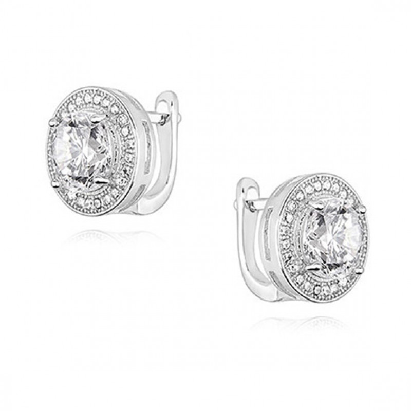 Silver earrings with round white zirconia, 11 mm