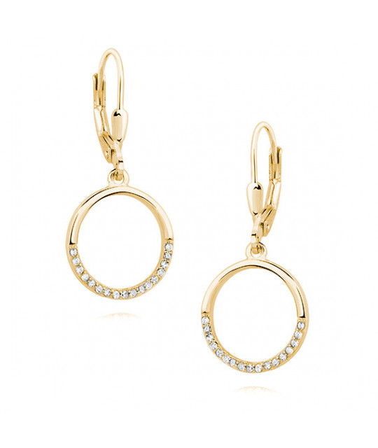 Silver earrings, Circle with white zirconia
