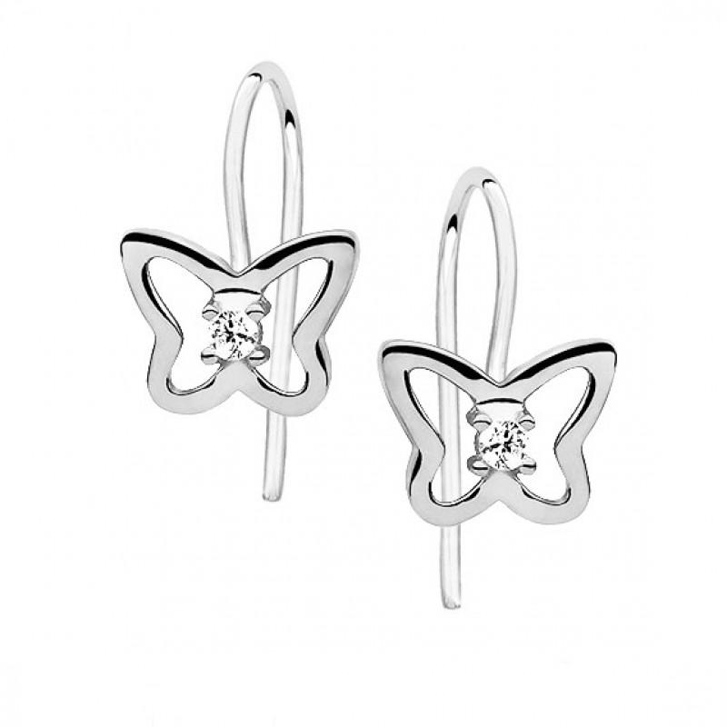 Silver earrings with white zirconia, Butterflies
