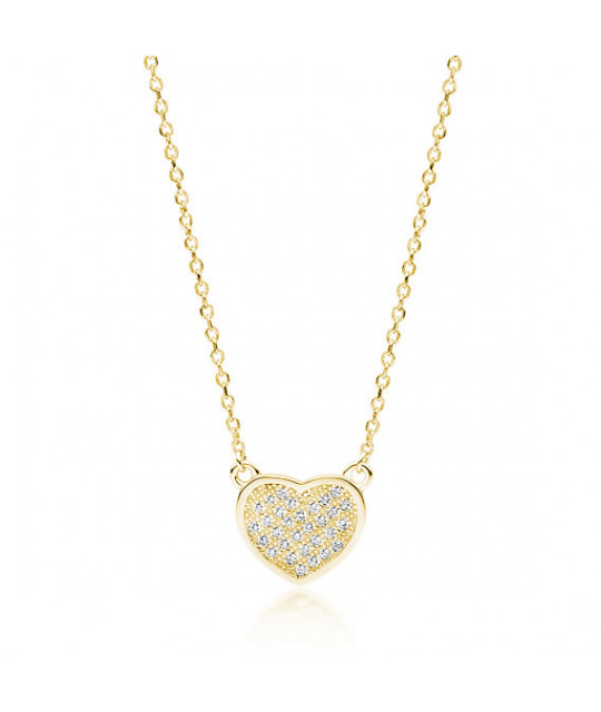 Gold-plated silver necklace, Heart with zirconia