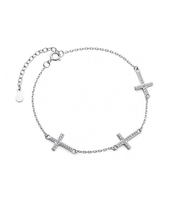 Silver bracelet, Three cross with zirconia