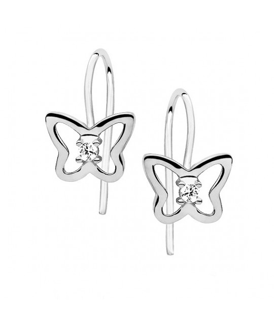 Silver earrings with white zirconia, Butterflies