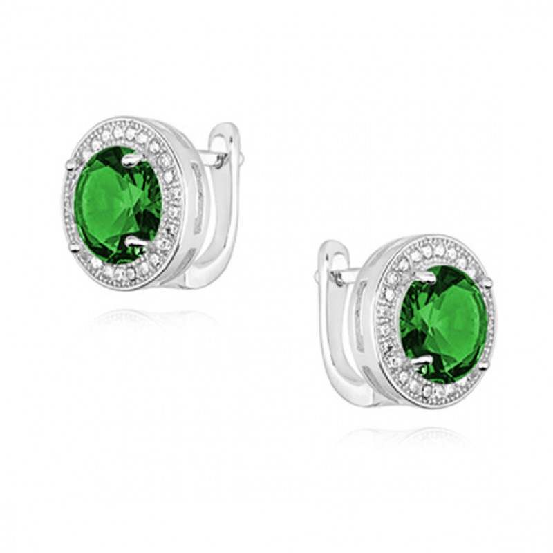 Silver earrings with round emerald zirconia