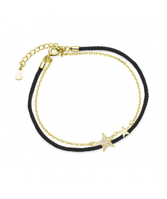 Silver gold-plated bracelet, Stars with zirconia