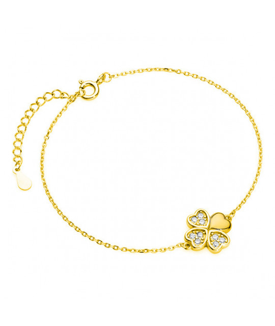 Gold-plated silver bracelet with Clover pendant, 12 x 12 mm