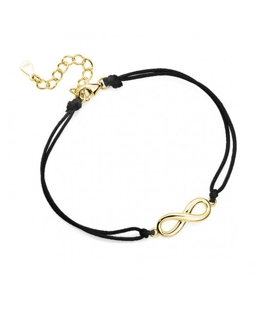 Gold-plated silver bracelet with black cord, Infinity