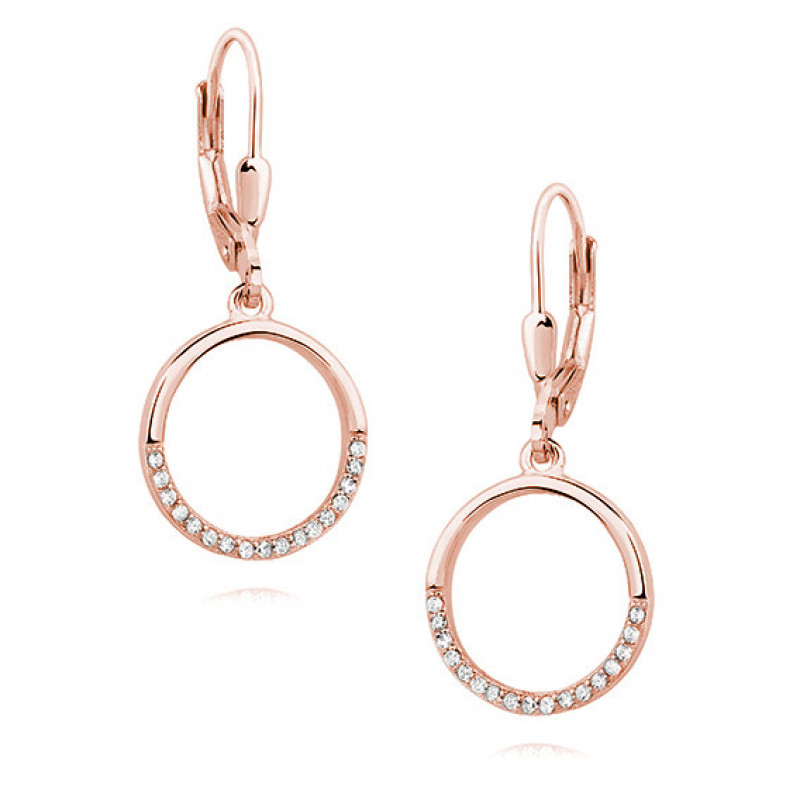 Pink gold-plated silver earrings, Circle with white zirconia