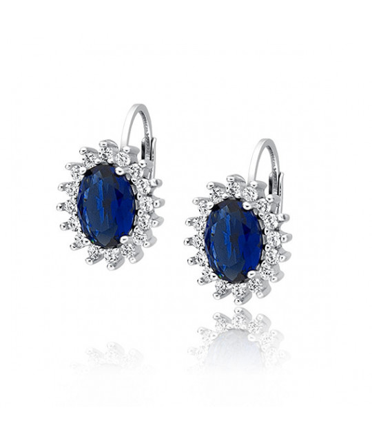 Silver earrings with sapphire zirconia