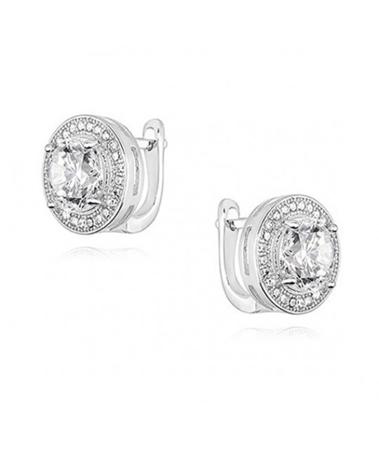 Apvalūs sidabriniai auskarai su baltu cirkoniu, 11 mm