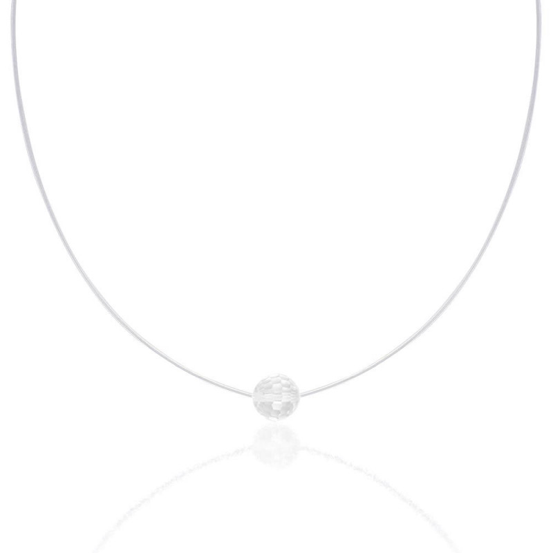 Silicone necklace with Swarovski Disco Ball crystal, Crystal Clear, 38 cm